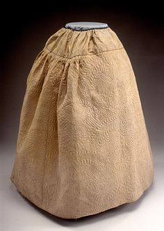 Petticoat, fabric: England, quilting: America, 1730-1740. Quilted yellow silk taffeta, lined with blue, glazed plain weave worsted wool.