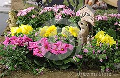 Decorative spring garden flower bed with blooming Primula and other spring flowers and a wooden garden ornaments welcome.