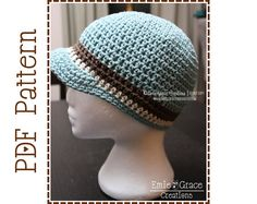 Crochet Newsboy Hat Pattern 8 Sizes from by EmieGraceCreations