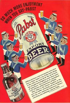 Vintage Pabst ad from Cosmopolitan Magazine, June 1937.  Hi res scan, enlarged, printed poster sized and framed.