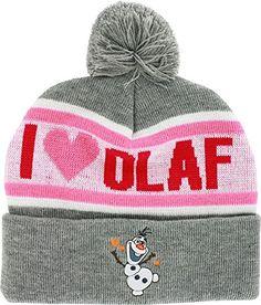 fec3e5a6d1b Disney Frozen I Love Olaf Women Ladies Cuffed Pom Beanie Knit Hat Heather  Winter Frozen http