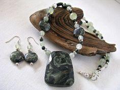 Kambaba Jasper and New Jade Necklace Earring Set by joyaslindas3, $49.99