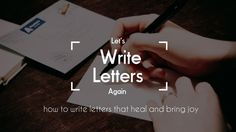 Let's Write Letters Again - Journal Prompt
