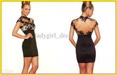 High Fashion Dresses  Fashion Black High Collar Appliques Short Mini Cocktail Dntbpbak