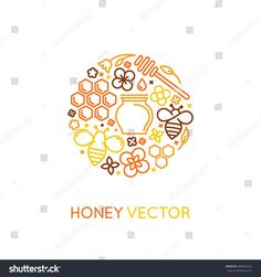 Vector logo and packaging design templates in trendy linear style - natural and farm honey concepts - label and tag with bees, honeycombs and flowers