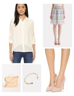 The playful, feminine Mika Plaid Print A-Line skirt from 1 by O'2nd is perfect for spring and summer. This fully-lined skirt is the perfect way to liven up your solid-colored basics. Wear it with a silk blouse, light, fitted sweater, or linen tee. Love mixing metals with this skirt, too!