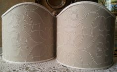Pair of Clip-On Shield Shades Rubelli Beige Embroidered Leather Ducato Pattern Mini Lampshade - Handmade in Italy by OggettiVeneziani on Etsy