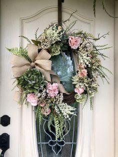 Everyday wreath, spring and summer wreath. Grapevine wreath, all season wreath, wreath for front doo Greenery Wreath, Grapevine Wreath, Hydrangea Wreath, Wreaths For Front Door, Door Wreaths, Front Porch, Year Round Wreath, Sunflower Wreaths, Floral Wreaths