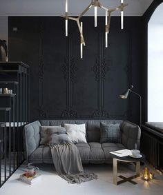Маленькая квартира от дизайнера Татьяны Шишкиной выполнена в темно-серых и черных цветах