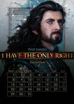 December: Richard Armitage as Thorin Oakenshield in The Hobbit movies. | The Gorgeous 2014 Calendar That Every Nerd Needs In Their Life