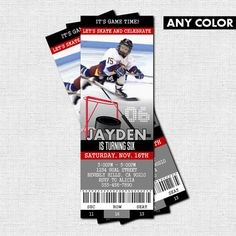 HOCKEY TICKET INVITATIONS Skate Birthday Party (print your own) Personalized Printable on Etsy, $10.97 CAD