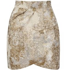 Yumi Metallic Jacquard Tulip Skirt (£50) ❤ liked on Polyvore featuring skirts, mini skirts, bottoms, ivory, women, metallic skirt, brown skirt, winter white skirt, metallic mini skirt and metallic jacquard skirt