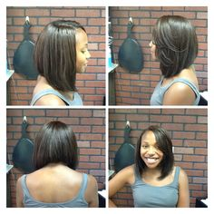 Asymmetrical bob maybe with a more gradual slope?