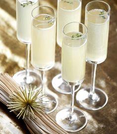 Good As Gold Cocktail: vodka, lemon, honey, and champagne.