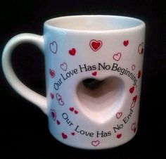 Heart Mug Our Love Has No End Hand Decorated Cup Valentines Gift Papel Japan 10 #Papel