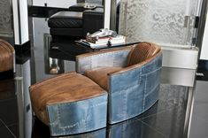 Vintage Aviator Chairs - this would be awesome in a man cave (Restoration Hardware)