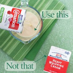 Use this, Not that...fat free evap milk for heavy cream. Lots of other swaps here too!