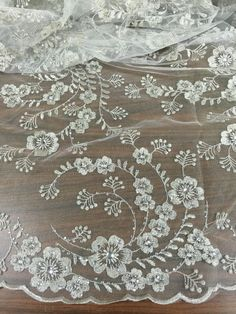 "WHITE MESH W/SILVER EMBROIDERY RHINESTONE BRIDAL LACE FABRIC 50"" WIDE 1 YD #laceembroiderymesh"