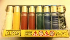 MINI SMALL CLIPPER LIGHTERS - BOX OF 40 Solid Colour Refillable Gas LIGHTERS