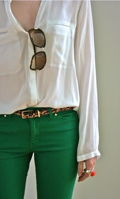 Green Jean, leopard belt and easy chiffon blouse! easy chic