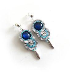 Navy blue grey studs earrings Soutache Earrings by sutaszula
