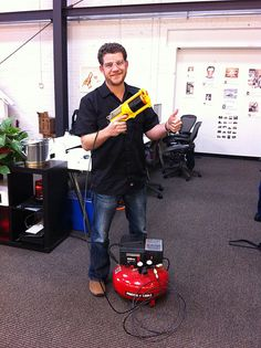 Aren's compressed-air Nerf gun. Shit just got real at @Pinterest HQ.