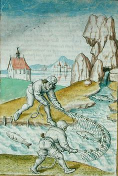 Ms 680/1389 fol.22 Fishing with a Net, from 'The Fables of Bidpai', c.1480, German School, (15th century) (German), watercolour on paper