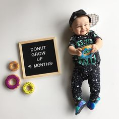 I mean how cute is this little dude? Looking awesome in our RAG! Serious baby style right there. Monthly Baby Photos, Newborn Baby Photos, Monthly Pictures, 6 Month Baby Picture Ideas, Milestone Pictures, Baby Letters, Baby Boy Pictures, Rompers For Kids, Foto Baby