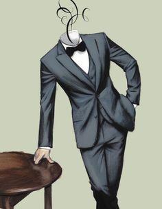 Glamour´s Days - Gentleman Magazine Spain by Fernando Vicente, via Behance Illustration Mode, Fashion Illustration Sketches, Fashion Design Sketches, Fashion Prints, Fashion Art, Mens Fashion, Classic Fashion, Fashion Design Template, Fashion Wallpaper