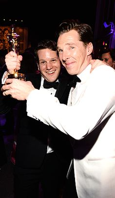 """""""Graham Moore and Benedict Cumberbatch attend the 2015 Vanity Fair Oscar Party hosted by Graydon Carter at the Wallis Annenberg Center for the Performing Arts on February 22, 2015 in Beverly Hills,..."""