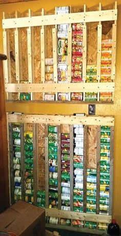 Build a Vertical Food Storage Rack for Cans Project Homesteading - The Homestead Survival .Com Build a Vertical Food Storage Rack for Cans Project Homesteading - The Homestead Survival . Canned Food Storage, Pantry Storage, Storage Hacks, Garage Storage, Storage Ideas, Kitchen Storage, Storage Room, Kitchen Shelves, Craft Storage