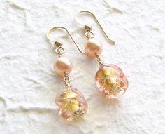 Murano Glass Earrings Peach Dangle Earrings Venetian by JKCJewels, $21.00