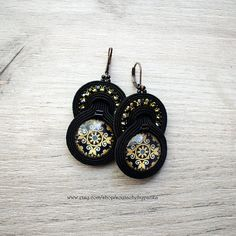 ON SALE Black and gold soutache necklace and stud earrings.