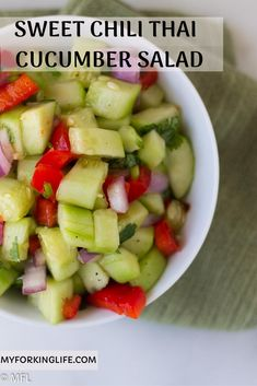 This Sweet Chilli Thai Cucumber Salad is the perfect refreshing salad to go along any meal. Just chop the veggies and herbs and let it marinate in Sweet Chili sauce for a great salad. Salads To Go, Easy Salads, Summer Salads, Healthy Salads, Healthy Food, Easy Salad Recipes, Fruit Recipes, Healthy Recipes, Lunch Recipes