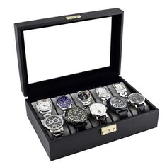 Caddy Bay Collection Carbon Fiber Pattern Glass Top Watch Case - Overstock Shopping - Big Discounts on Watch Boxes