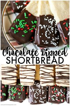 Chocolate Dipped Shortbread Cookies are a simple, from-scratch, shortbread cookie dipped in dark chocolate that's perfect for dunking in milk, coffee, hot chocolate...Santa won't be disappointed! | www.persnicketyplates.com