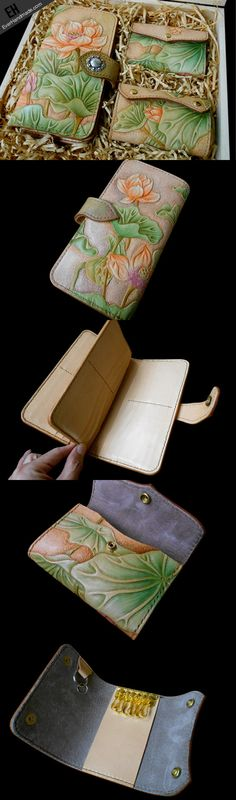 Handcraft hand painting lotus flower leather long/keys/card wallet for | EverHandmade