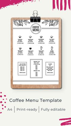Menu template | Шаблон меню Cafe Menu Design, Menu Card Design, Restaurant Menu Design, Coffee Shop Menu, Coffee Logo, Coffee Branding, Menu Online, Menu Cards, Sad