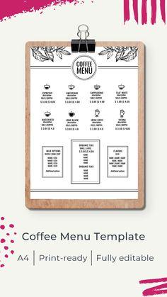 Menu template | Шаблон меню Cafe Menu Design, Menu Card Design, Restaurant Menu Design, Coffee Shop Menu, Menu Online, Coffee Branding, Menu Cards, Sad, Inspiration