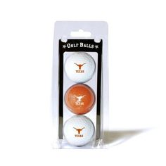 Texas Longhorns Golf Balls. This pack of 3 balls include two color balls and one white ball. Show your Longhorns team spirit on the course! Officially licensed Texas Longhorns fan gear.