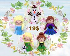 Frozen and Frozen Fever Doll Kits. Felt Doll. Felt pattern. PDF Pattern. Sewing pattern. Felt Crafts.