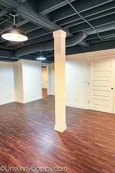 Dark grey ceiling looks sharp! Dark grey ceiling looks sharp! Basement Remodel Diy, Basement Gym, Basement Makeover, Basement Renovations, Basement Bathroom, Modern Basement, Basement Apartment, Basement Subfloor, Gray Basement
