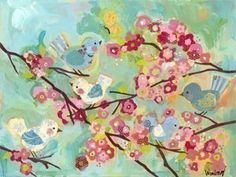 Cherry Blossom Birdies van winborgdesign op Etsy