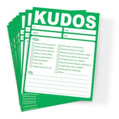 Kudos for Growth & Learning - Set of 10 Note Pads (GREEN)-Trainers Warehouse Effective Meetings, Green Office, Do It Right, Made Goods, Teaching Tools, Workplace, Effort, Stress, Notes