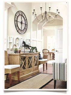This French Provincial entry has lots going for it. The high ceiling is set off with a chandelier, the console adds character and the furniture adds charm. All furniture & accessories from Ballard Designs. Home Interior, Interior Decorating, Interior Design, High Ceiling Decorating, Home And Deco, Ballard Designs, Style At Home, Design Case, Entryway Decor