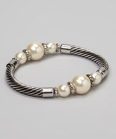 Take a look at this Silver Pearl Stretch Bracelet by Fantasy World Jewelry on #zulily today! $9.00