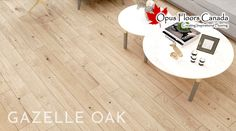 Light and gentle, Gazelle Oak has been designed to keep a natural look. Natural while keeping an extraordinary lightness! Gazelle, designed, engineered and manufactured to Opus Floors Canada's specifications. Natural Wood Flooring, Oak Flooring, Floors, Angel Oak, Personal And Professional Development, Engineered Hardwood, Oil, Table, Inspiration
