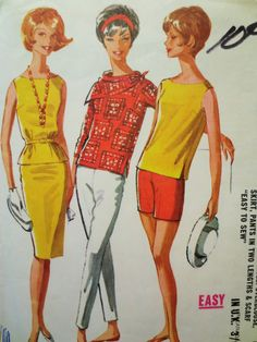 Vintage McCall's 6207 Sewing Pattern, 1960s Skirt Pattern, Pants, Scarf, Top Pattern, Blouse, Bust 34, Vintage Sewing, 1960s Sewing Pattern