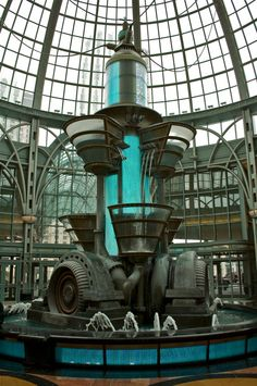 so cool looking, dieselpunk fountain some would argue steampunk, however there's a noticeable art-deco styling. Viktorianischer Steampunk, Design Steampunk, Steampunk Kunst, Steampunk House, Steampunk Fashion, Victorian Fashion, Steampunk Drawing, Steampunk Necklace, Steampunk Clothing