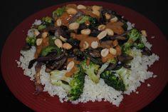 vegetable and cauliflower rice peanut stir fry
